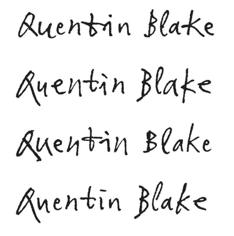 Examples of Quentin Blake's name generated in various ways using subtly different alternates