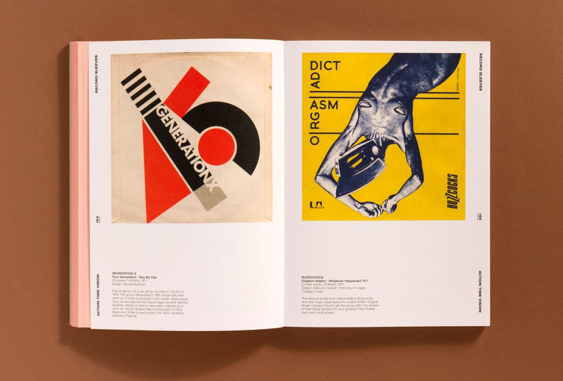 Album cover designs by Barney Bubbles and Malcolm Garrett, featured in Action Time Vision.