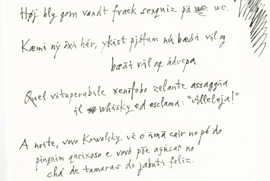Quentin Blake's handwriting samples
